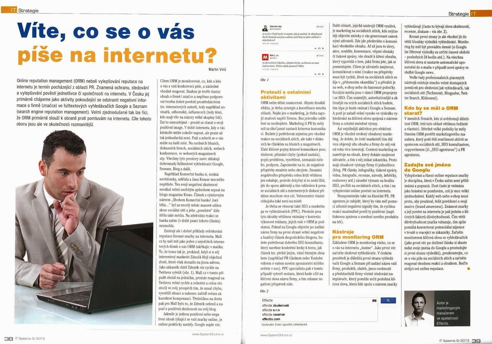 Screenshot článku o ORM v časopisu IT systems (9/13), který jsem sepsal.