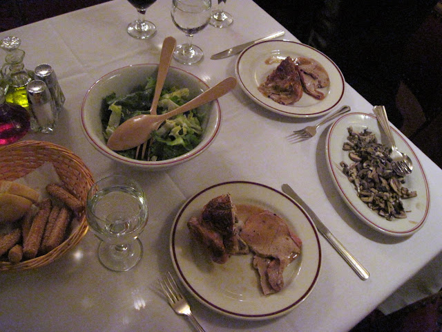 The main course when dining in New York was roast chicken and roast veal at March's Restaurant