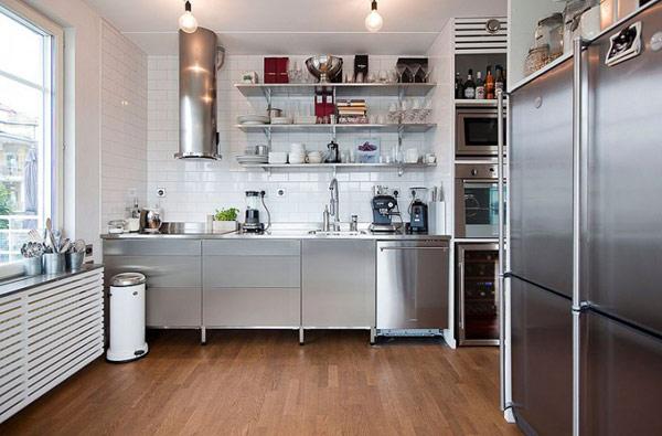 cocina gris y acero