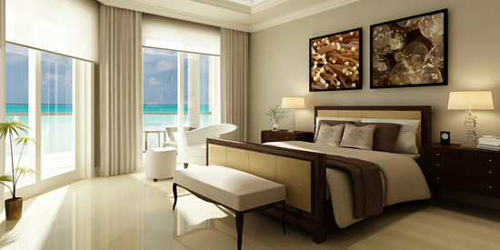 Master bedroom with views of Seven Mile Beach, Cayman Islands