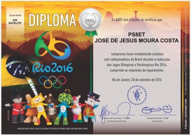Diploma Jogos Olimpicos Rio 2016 nº 029  - Via Satelite SO50