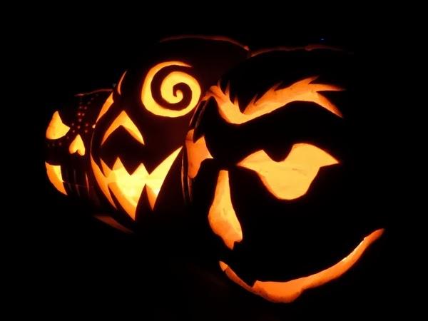 Halloween pumpkins aglow