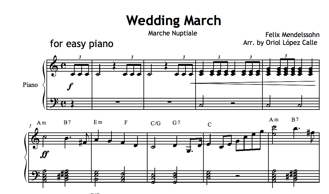 Wedding March Mendelssohn Sheet Music And Midi File
