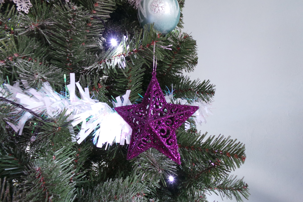 All Out Baubles And Tree Decorations Are From Bu0026M Bargains. The Purple  Glitter Stars Were Four For £1.99, The Teal Baubles Were In A Variety Pack  And Were 6 ...