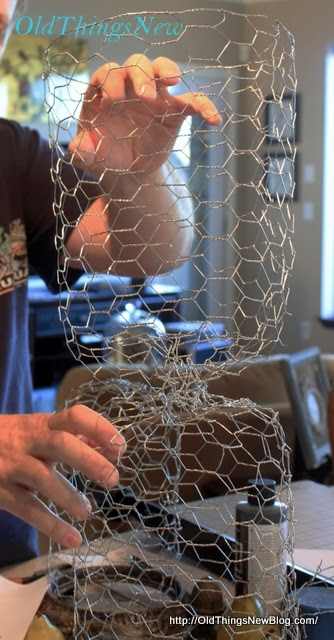 Make your own junky chicken wire cloche - by Old Things New, featured on http://www.ilovethatjunk.com