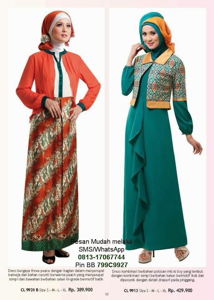 Baju Gamis Batik Modern Terbaru Kombinasi Blazer
