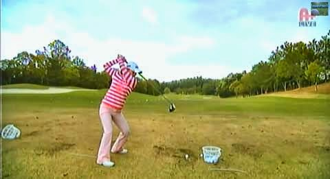 Sakura at end of backswing