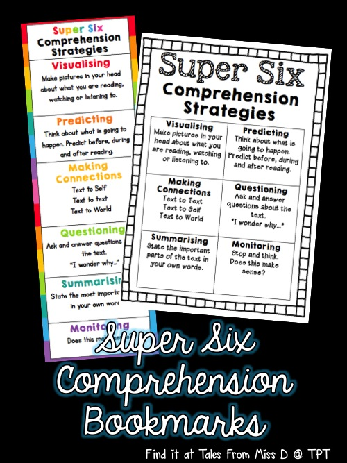 http://www.teacherspayteachers.com/Product/Super-Six-Comprehension-Strategies-Bookmarks-Quick-Reference-Page-1361614