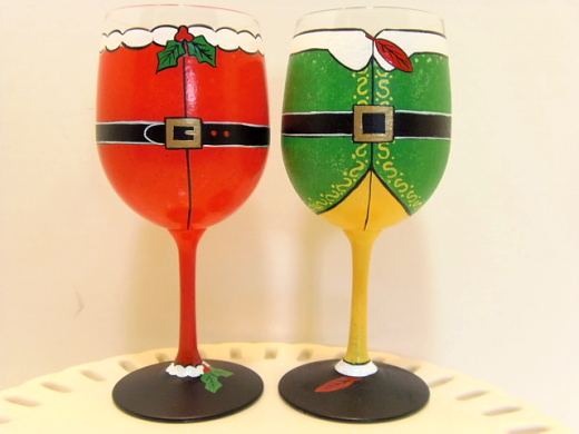 Santa and Buddy the Elf Hand Painted Wine Glasses