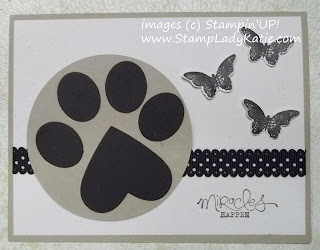 Punch Art Dog Paw Print made with Stampin'UP! punches.