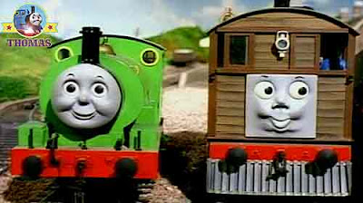 Thomas the tank engine Toby the tram engine and small Percy the green train were sent to lend a hand