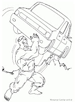 Gambar Mewarnai Hulk Mengangkat Mobil