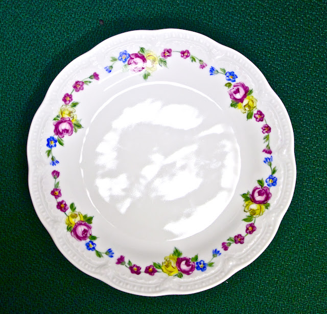 porcelain painting, hand painted porcelain, dessert plate, vintage style china