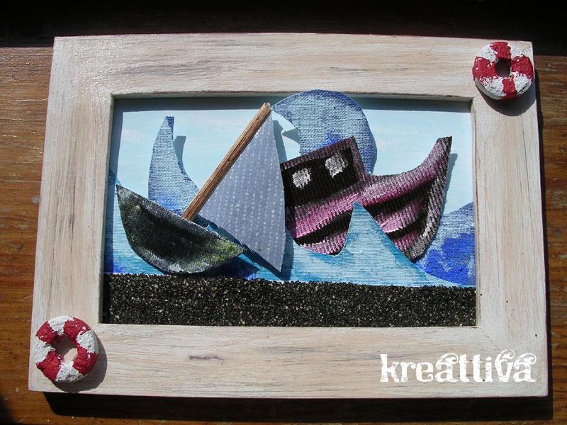 quadretto con nave e mare in burrasca