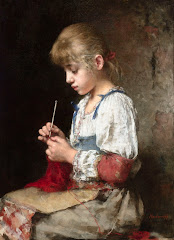 A YOUNG GIRL CHROCHETING