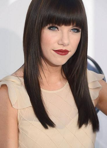 Short hair Style Guide and Photo: Brown hair color with blue eyes