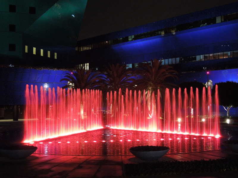 Red fountains Pacific Design Center