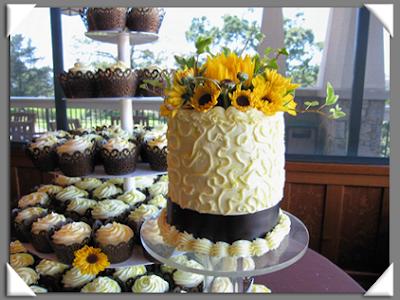 Sunflower covered wedding cake