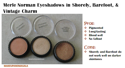 Makeup n' More By Anna: Swatches & Review: Merle Norman Eyeshadows in Shorely, Barefoot, and ...