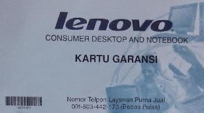 Contoh Kartu Garansi Lenovo