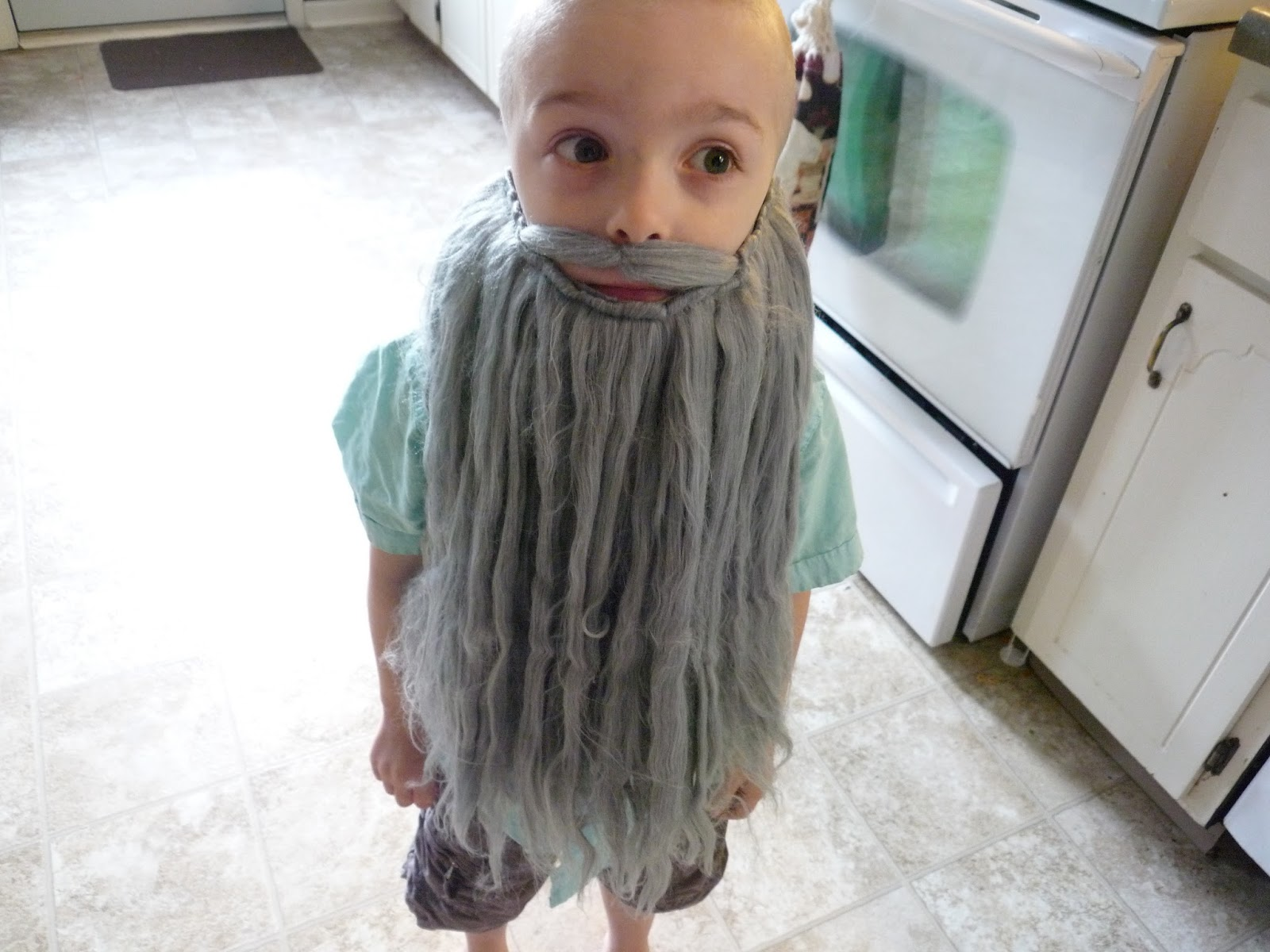 way too long of a beard for a four year old  sc 1 st  Full Time Frugal & Full Time Frugal : DIY costume - $10 Poseidon!