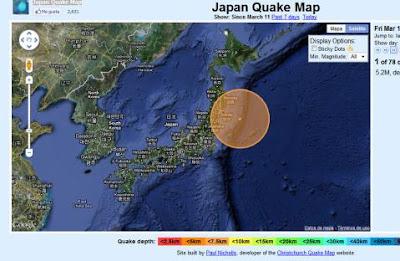 Epicentro megaterremoto en Japon, el 11 de Marzo de 2011