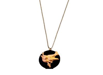 sautoir medaillon oiseau bijoux pas cher