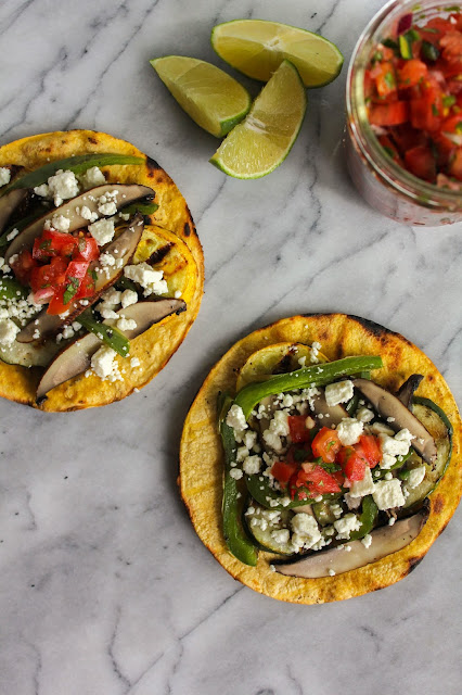 Grilled Vegetable Tostadas with Feta and Fresh Tomato Salsa | The Chef Next Door