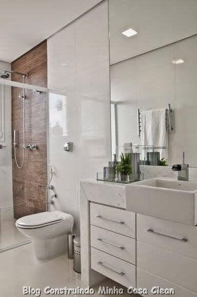 Construindo Minha Casa Clean Top 10 Banheiros Modernos Pequenos e Grandes p -> Banheiro Pequeno E Clean