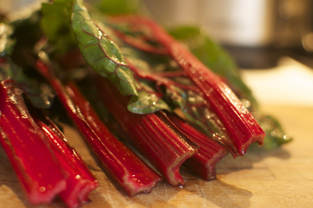 ... : Every meal a miracle: Rhubarb Red Swiss Chard with lots of Garlic