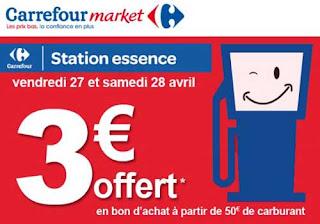 Carrefour Market : 50€ dépensés sur le carburant = 3€ offerts