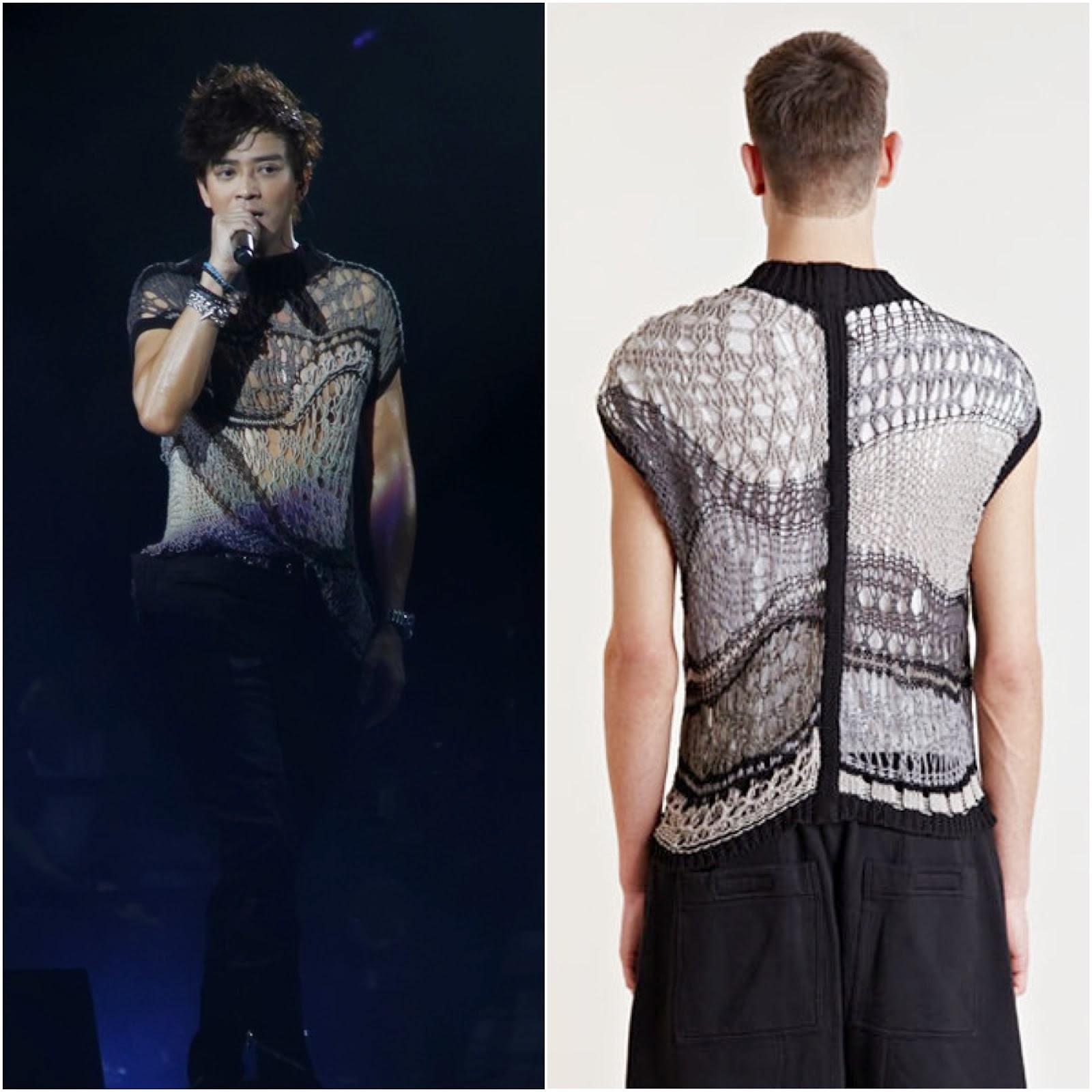 00O00 Menswear Blog: Daniel Chan [陈晓东] in Rick Owens - Hong Kong Concert