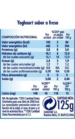 Calorías yogurt normal fresa
