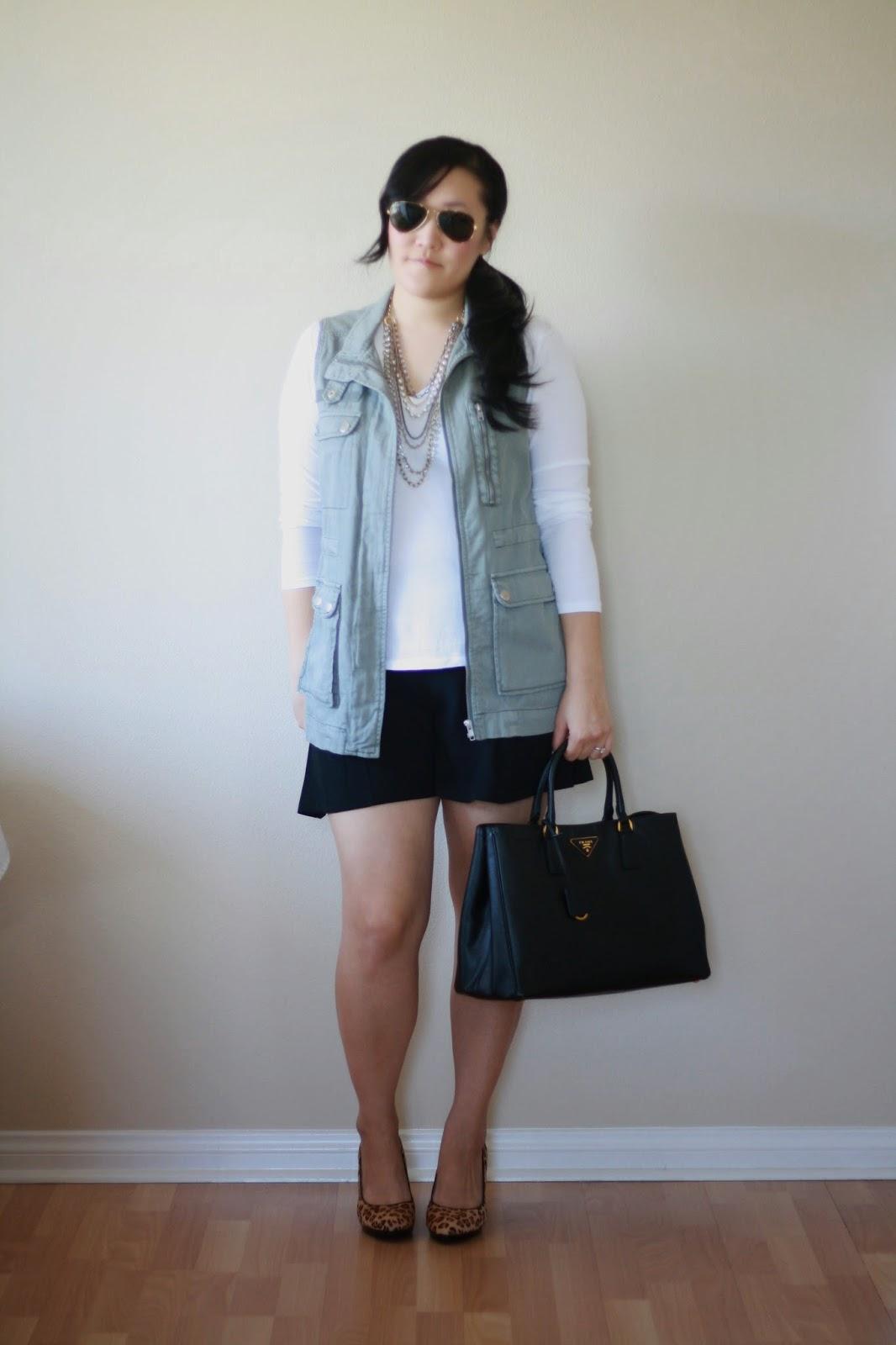 blogger, style blogger, fashion blogger, preppy blogger, ootd, cargo vest, utility vest, prada bag, leopard pumps