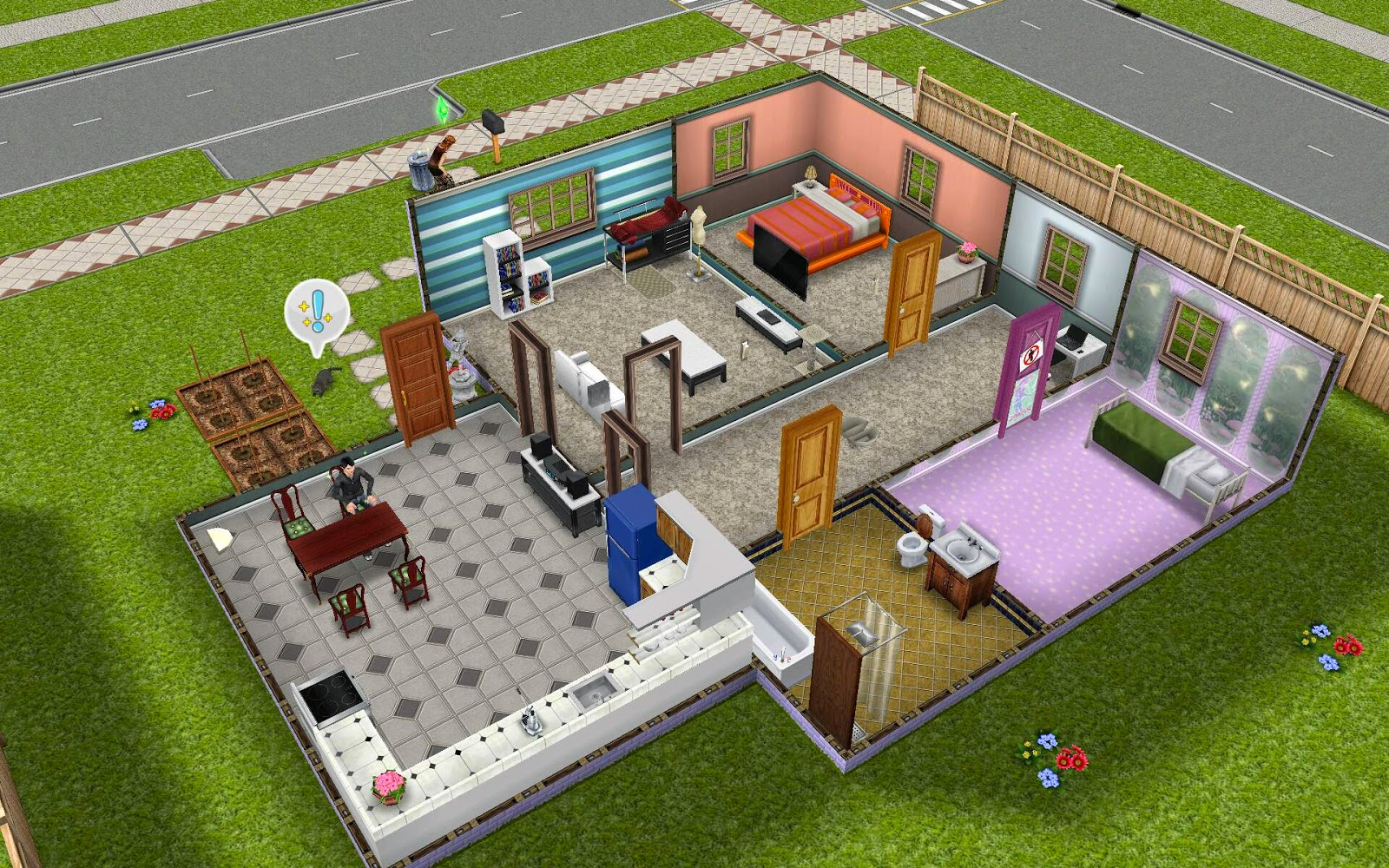 Both the kitchen and living room open to a central hallway where you ll  find a bathroom and two bedrooms. Sims Freeplay Housing  Kinda Normal