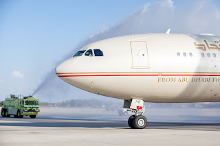 Etihad Airways' official inaugural flight arrives into Dulles International Airport, Washington, D.C.