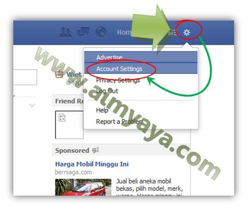 Gambar: Mengakses Account Settings (Pengaturan akun) Facebook
