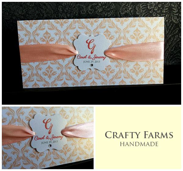 Peach Damask with Ribbon Wedding Invitation Card