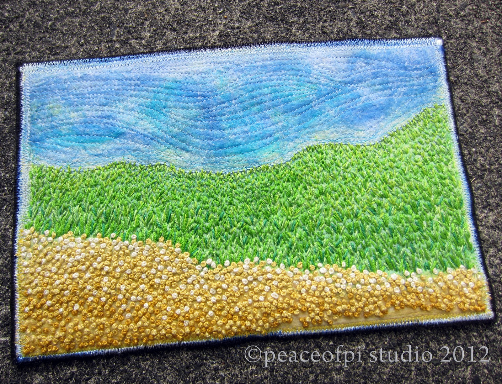 Peaceofpi studio landscape in hand embroidery