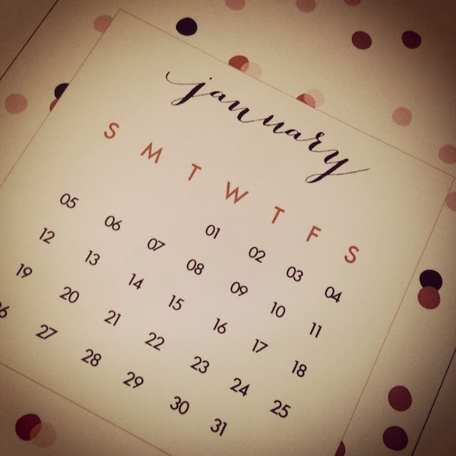 Jan 2014 Printable Calendar from Oh The Lovely Things