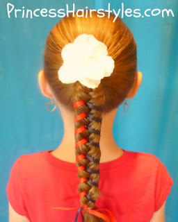 4th of July hairstyle, ribbon braid