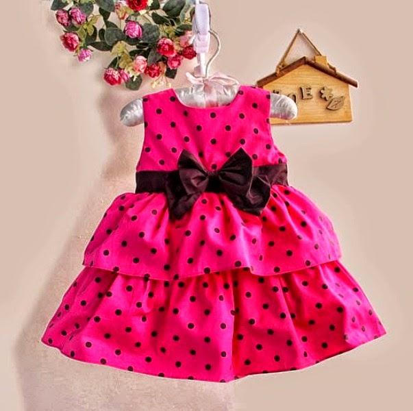 Dress anak perempuan warna pink branded