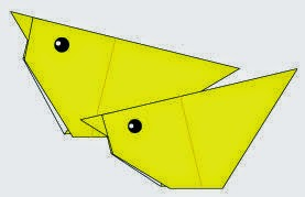 Bước 7: Vẽ mắt để hoàn thành cách xếp con gà bằng giấy origami đơn giản - a chick.