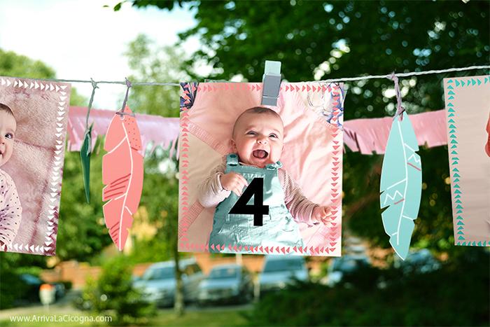 ghirlanda di foto per il primo compleanno di una bimba