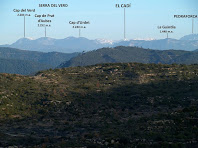 La Serra del Verd, el Cadí i el Pedraforca des del Serrat del Pont