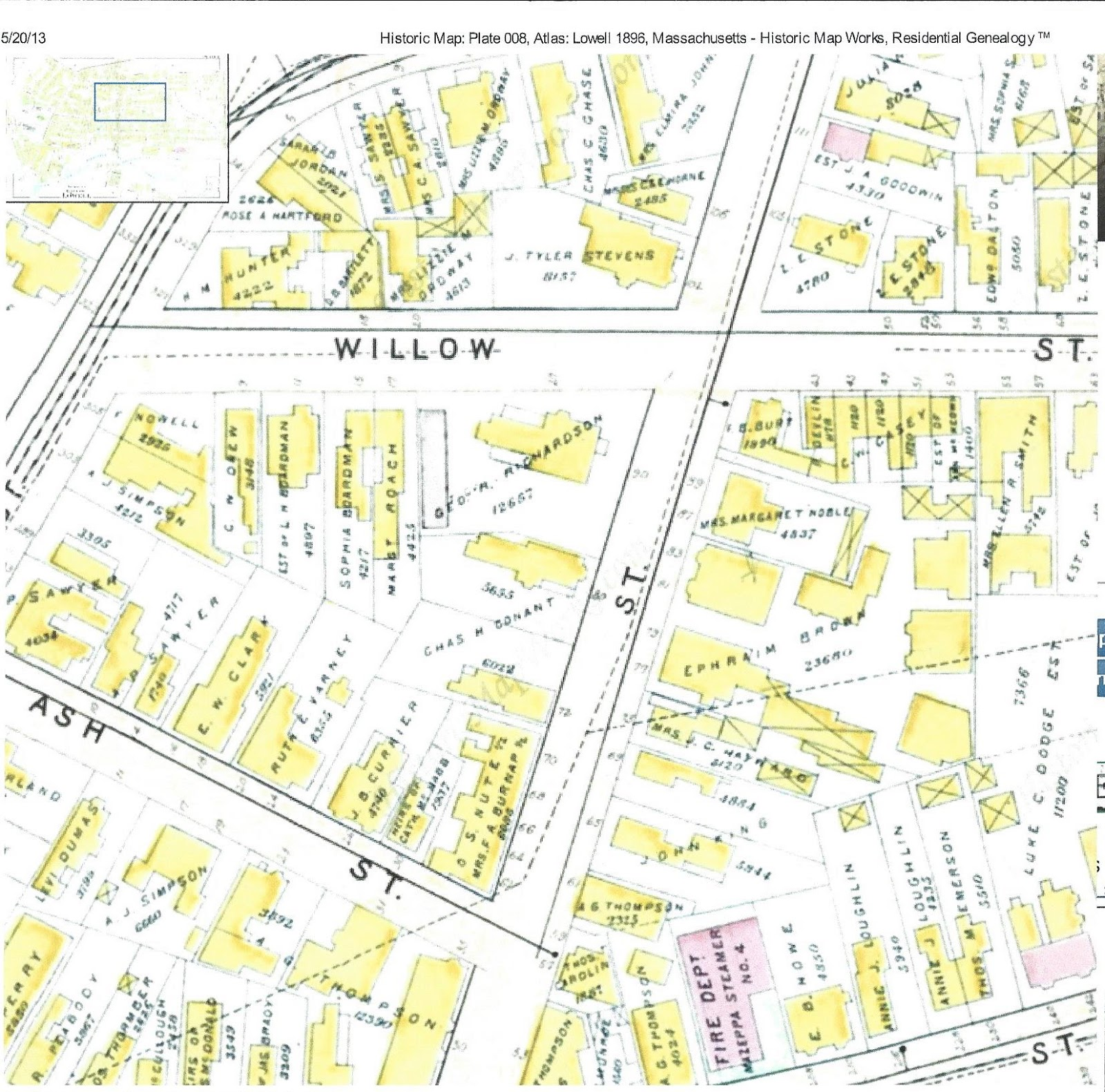 the notation 4 rear on all of the willow street addresses is consistently listed in the directories from 1875 to 1894 even with lowell s house