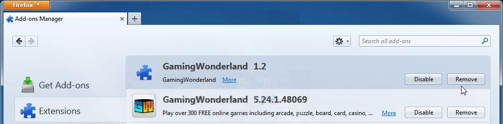 Eliminar Gaming Wonderland Toolbar