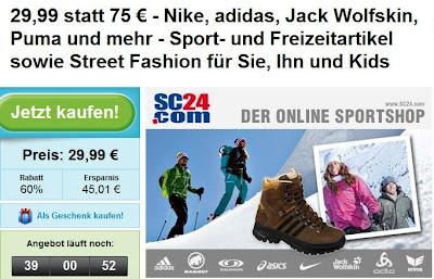 Großer SC24.com-Gutschein im Wert von 75 Euro zum Preis von 29,99 Euro bei Groupon