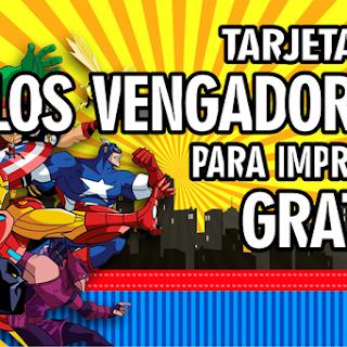 Tarjeta de Cumpleaños de LOS VENGADORES, para imprimir
