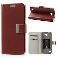 Crazy Horse Texture Leather Case Wallet with Stand for Lenovo S920 - Brown